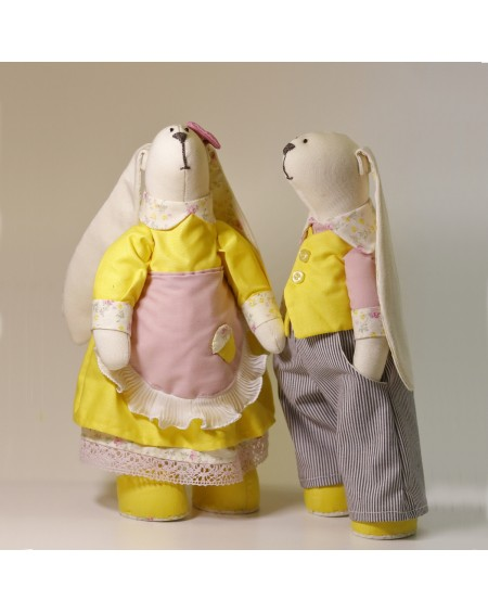 Mr and Mrs Hare - Handmade Dolls