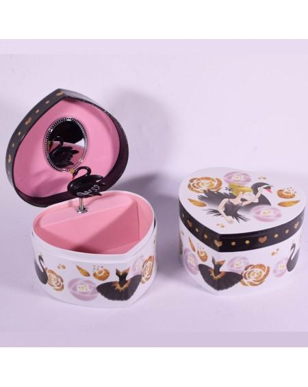 Heart Musical Jewelry Box - Black Swan
