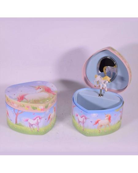 Heart Musical Jewelry Box with Unicorn